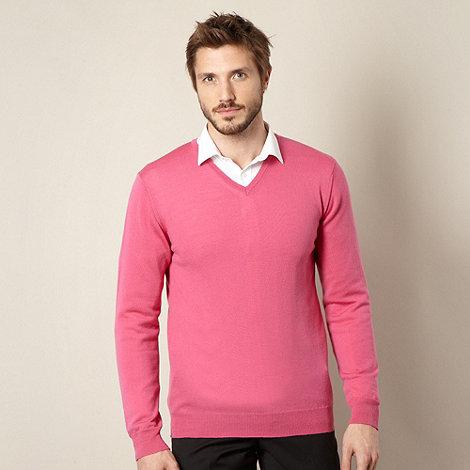 J by Jasper Conran - Designer bright pink merino wool jumper