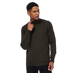 J by Jasper Conran - Big and tall dark green pure merino wool roll neck jumper