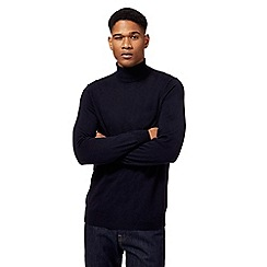 J by Jasper Conran - Big and tall navy pure merino wool roll neck jumper
