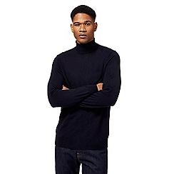 J by Jasper Conran - Navy pure merino wool roll neck jumper
