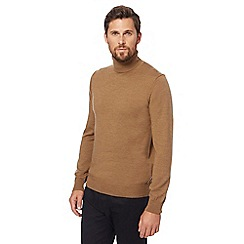 J by Jasper Conran - Big and tall beige pure merino wool roll neck jumper