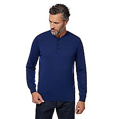 J by Jasper Conran - Big and tall blue granddad neck merino wool jumper