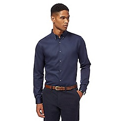 J by Jasper Conran - Big and tall navy sateen long sleeve shirt
