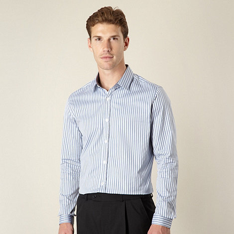 J by Jasper Conran - Designer blue herringbone striped shirt