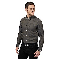 J by Jasper Conran - Big and tall dark grey windowpane checked shirt