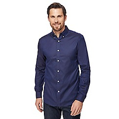 J by Jasper Conran - Royal blue textured Oxford long sleeved shirt