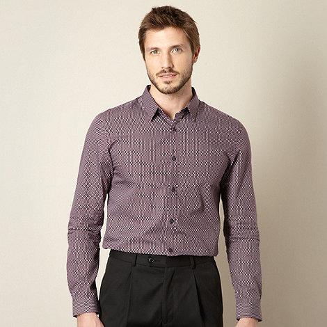 J by Jasper Conran - Designer maroon fine geometric printed shirt