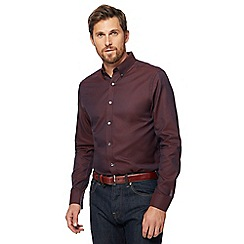 J by Jasper Conran - Big and tall dark red regular fit oxford shirt