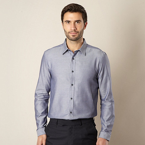 J by Jasper Conran - Designer navy herringbone gingham shirt