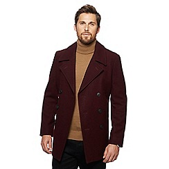 J by Jasper Conran - Big and tall dark red wool rich pea coat