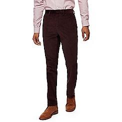 J by Jasper Conran - Big and tall dark red corduroy straight leg chinos