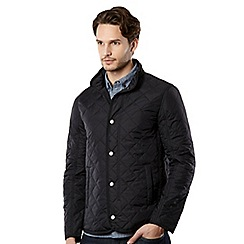 J by Jasper Conran - Big and tall designer navy quilted funnel neck jacket