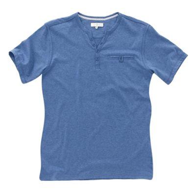 Blue melange y-neck mens t-shirt