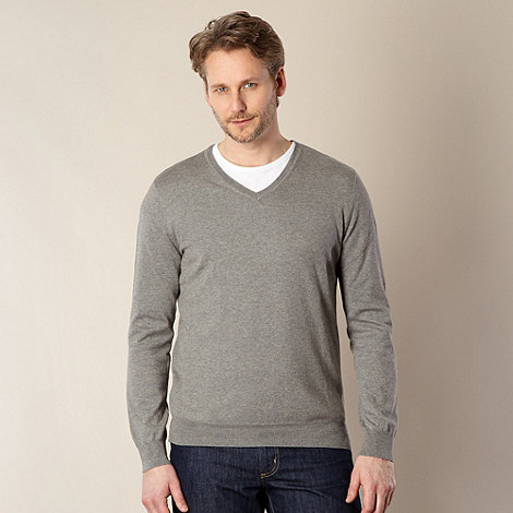 J by Jasper Conran - Big and tall designer grey luxury silk blend jumper