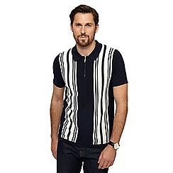 J by Jasper Conran - Navy stripe knitted polo shirt