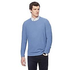 J by Jasper Conran - Blue textured crew neck jumper