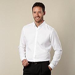 J by Jasper Conran - Big and tall designer white textured long sleeved shirt