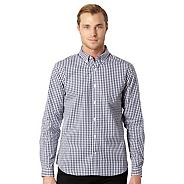 Big and tall designer navy gingham checked shirt