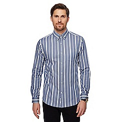 J by Jasper Conran - Big and tall blue striped long sleeve shirt