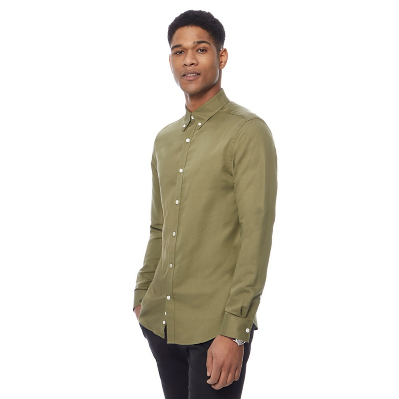 J by Jasper Conran Big and tall khaki linen blend twill shirt