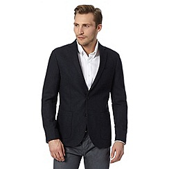 J by Jasper Conran - Designer navy herringbone wool mix single breasted jacket