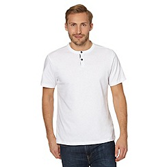 J by Jasper Conran - Designer white button neck henley t-shirt