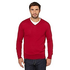 J by Jasper Conran - Big and tall designer dark pink merino v neck jumper