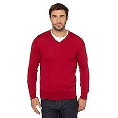 J by Jasper Conran - Big and tall designer dark pink merino v neck jumper