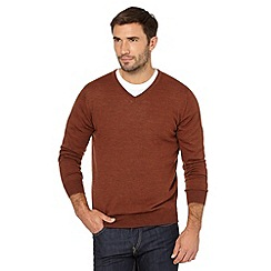 J by Jasper Conran - Big and tall designer dark orange merino v neck jumper