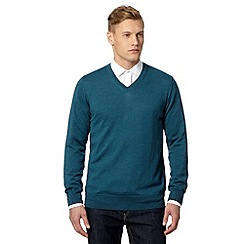 J by Jasper Conran - Big and tall designer dark turquoise merino V neck jumper