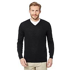 J by Jasper Conran - Designer black merino V neck jumper
