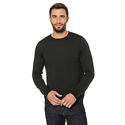 J by Jasper Conran - Big and tall designer dark green merino crew neck jumper