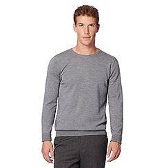 J by Jasper Conran - Big and tall designer light grey merino crew neck jumper