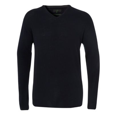 Navy V-neck Merino Wool Jumper