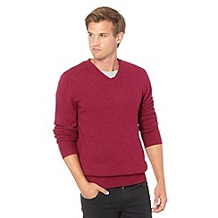 J by Jasper Conran - Big and tall designer pink wool blend V neck jumper