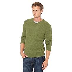 J by Jasper Conran - Big and tall designer lime wool blend V neck jumper