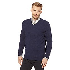 J by Jasper Conran - Big and tall designer navy wool blend V neck jumper
