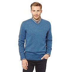 J by Jasper Conran - Big and tall designer blue wool blend V neck jumper
