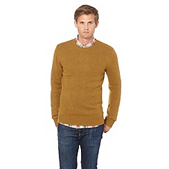 J by Jasper Conran - Big and tall designer mustard plain wool blend crew neck jumper
