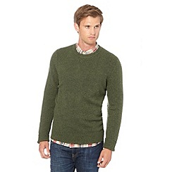 J by Jasper Conran - Big and tall designer olive wool blend crew neck jumper