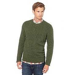 J by Jasper Conran - Big and tall designer olive wool blend crew neck jumper