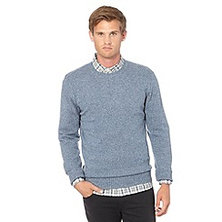 J by Jasper Conran - Big and tall designer light blue wool blend crew neck jumper