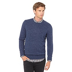 J by Jasper Conran - Big and tall designer blue wool blend crew neck jumper