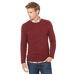 J by Jasper Conran - Big and tall designer maroon wool blend crew neck jumper