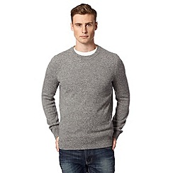 J by Jasper Conran - Big and tall designer light grey wool blend crew neck jumper