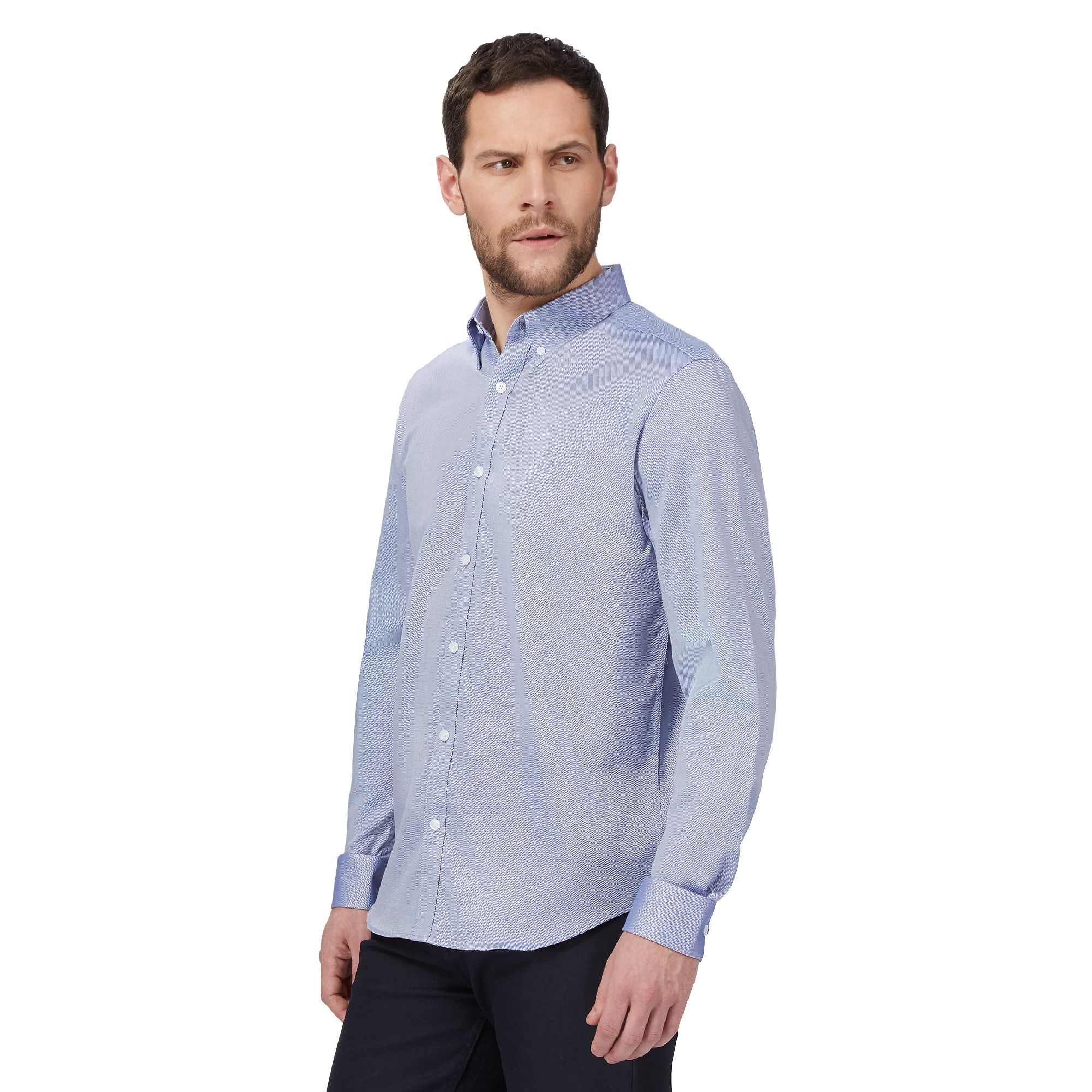 J by jasper conran mens big and tall designer mid blue for Big and tall oxford shirts