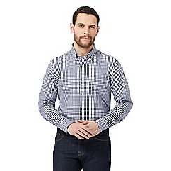 J by Jasper Conran - Big and tall designer dark blue gingham shirt