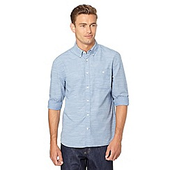 J by Jasper Conran - Big and tall designer blue striped button down collar shirt