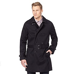 J by Jasper Conran - Big and tall designer navy twill mac coat