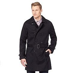 J by Jasper Conran - Big and tall designer navy twill mac coat